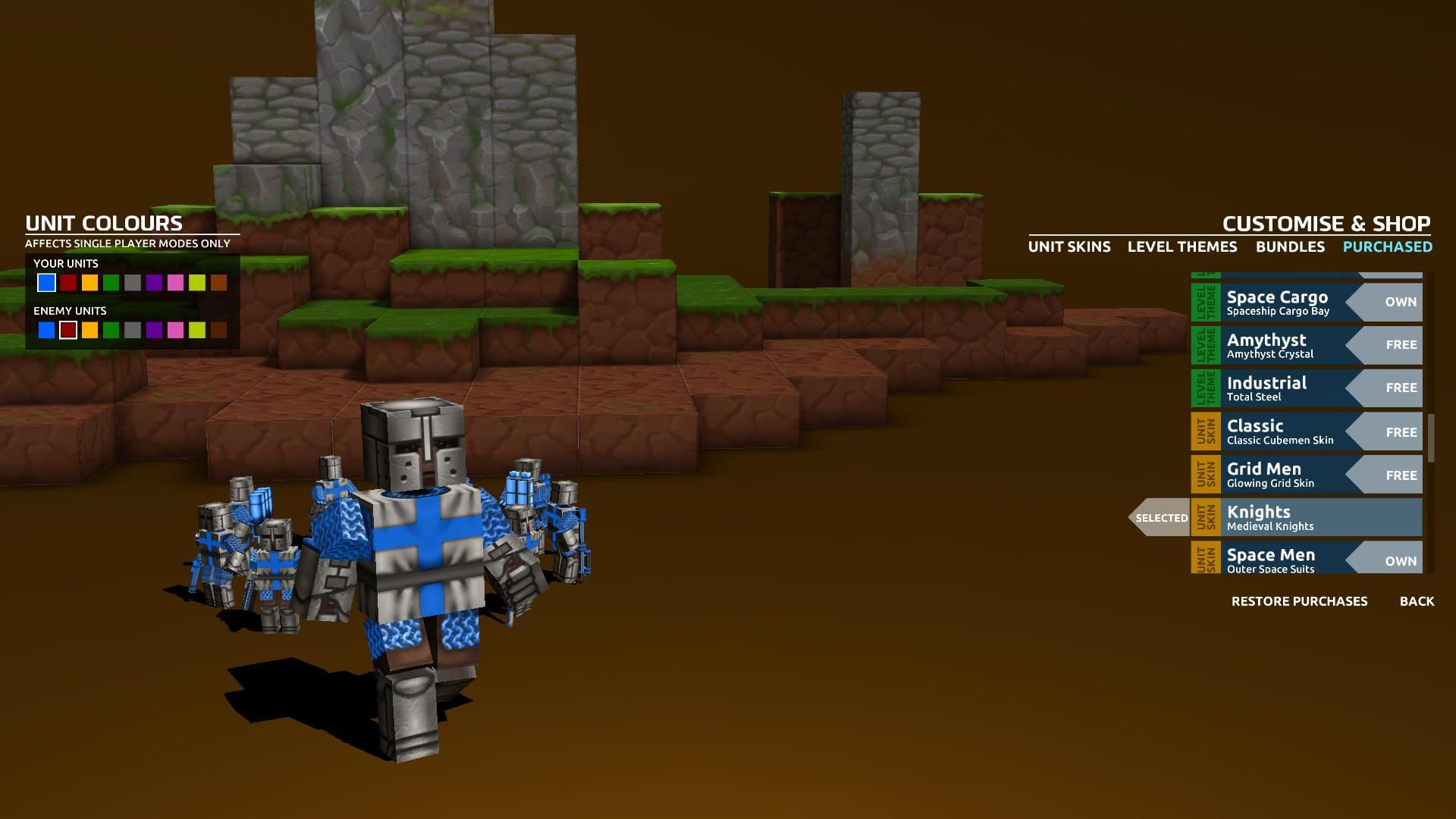 В комплект Cubemen 2 входит громадный пак «шкурок» для локаций и воителей. Например, можно с помощью крестоносцев защищать от вторжения зомби лунные кратеры или стравливать роботов с тайными агентами в мире Minecraft. К сожалению, выглядит все это жутковато – на кубики натянуты текстуры не самого высокого качества.